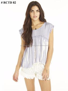 1907bd05ac9 Girls Fashionable Western Wear Outfits Rayon Tie & Dye Tunic Top ...