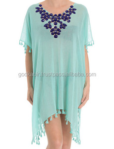 KGN BLOSSOMING LOTUS FACETED Gemstone Embellished Stylish Sky Blue Women Fashion Top/Tunic/Kaftans Dress