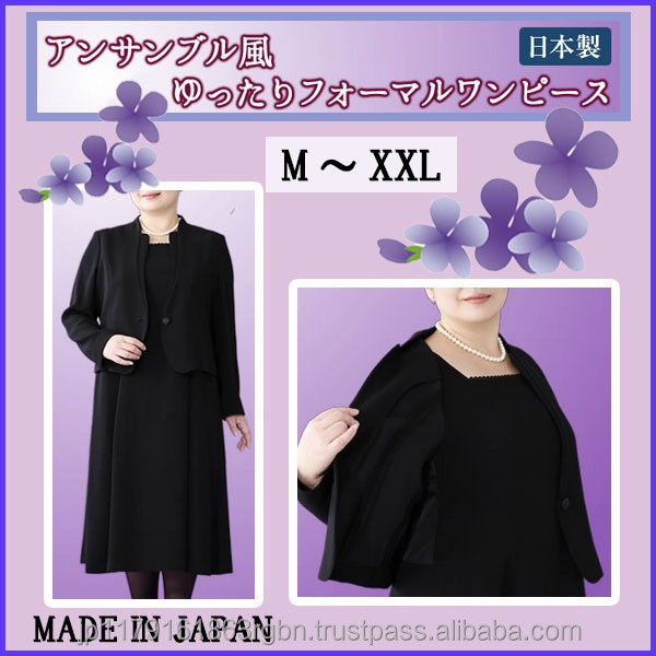 Lightweight and Durable formal black dress with fastener made in Japan