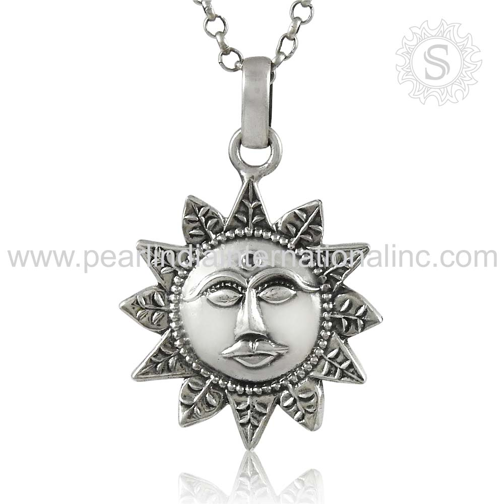 Sun Design 925 Sterling Silver Pendant Jewelry Indian Jewelry Wholesaler Exporters