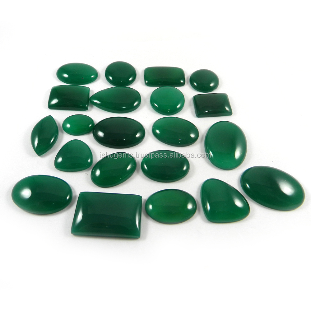 Rare ! 21 Pcs Natural Green Onyx Gemstone 100 Gms Mix Shape ...