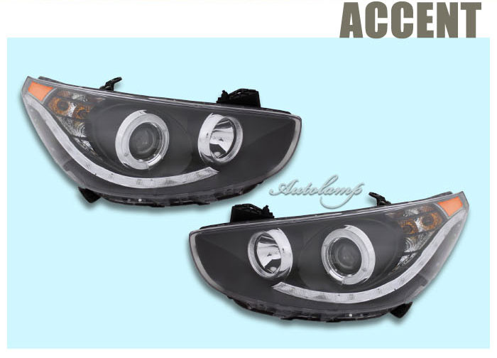 [AUTO LAMP] Accent 2011 - Angel Eye LED Head Lights set (no.0490)
