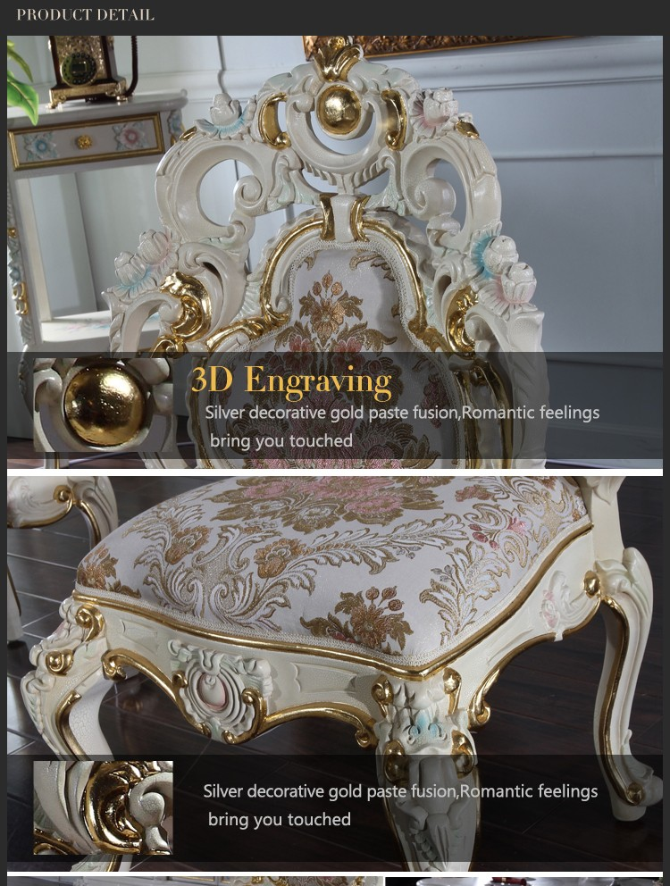 Luxury classic baroque chair Italian solid wood frame with leaf gilding dining room furniture French rococo dining room chair