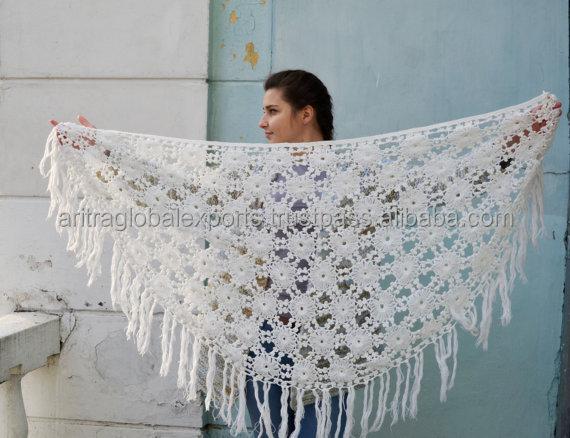 Vintage blanc crochet ch le doux crochet frange wrap de - Chale blanc mariage ...