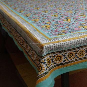 Gentil Indian Fabric Handmade Block Print Phuljhari Jade Tablecloth