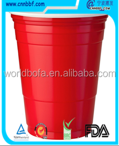 12/14/16oz Red custom printed plastic disposable PS cup beer pong blue party cup