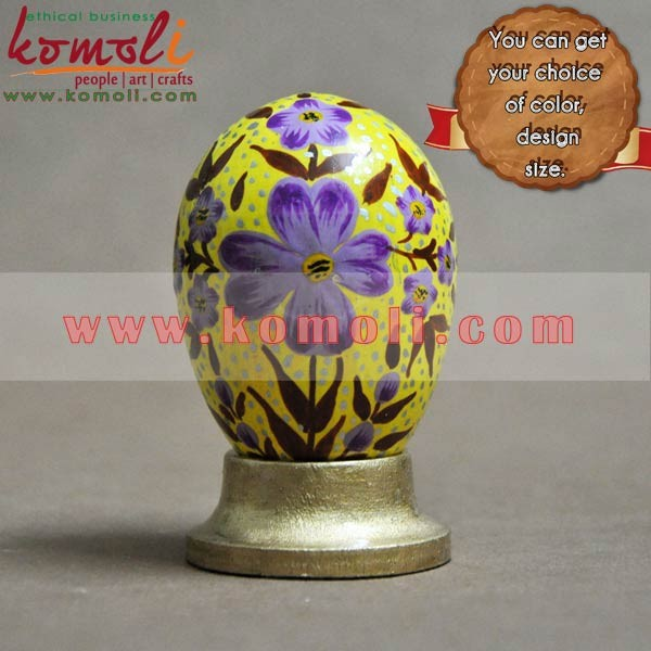 Wooden hand painted flowers with silver dots painted wood Easter eggs