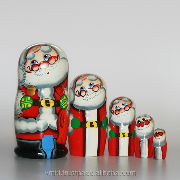 Santa Claus dolls with bell, 5 pcs custom Russian nesting dolls, Christmas gift, MD0502-nruk