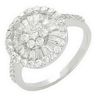 Custume jewelry white gold ring with diamond women's engagement ring at wholesale price