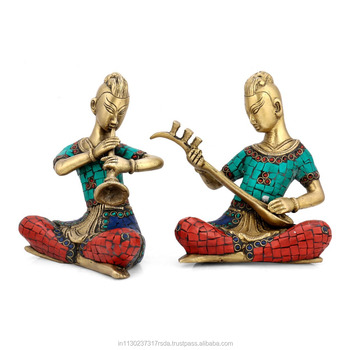 Musical Lady Idol Brass Turquoise Statue Showpiece Art Coral Ethnic Trible Musician Figure Home Decor