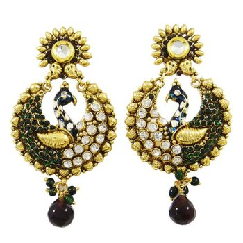 Peacock Design Earring Set Women Traditional Goldtone Jewelry