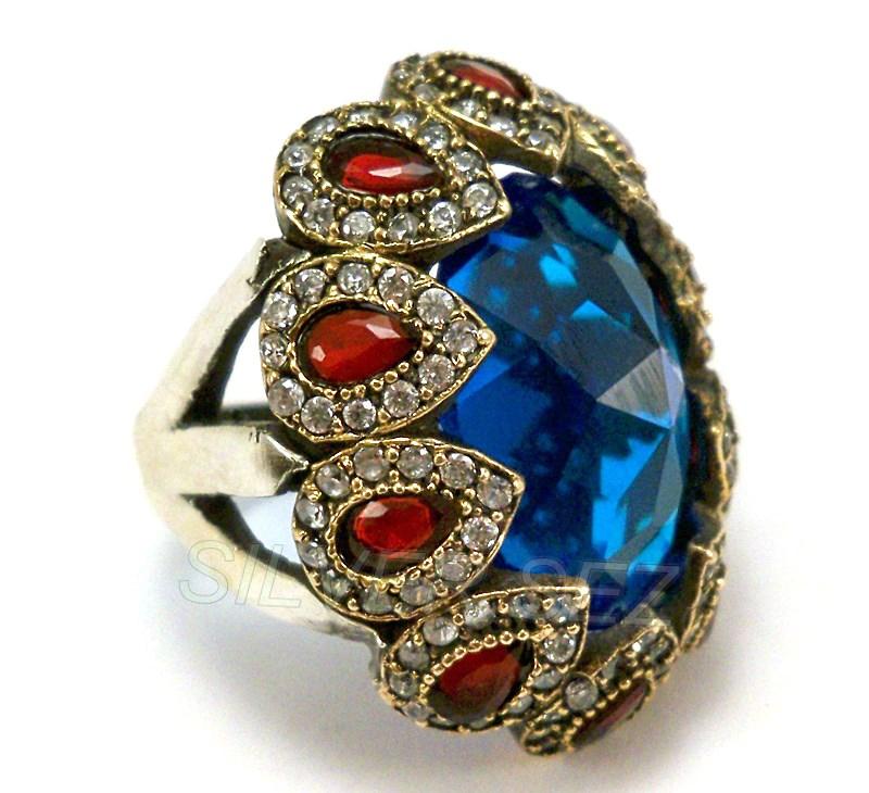 925 Sterling Silver Ring Aquamarine Topaz Zircon Turkish Kosem ...