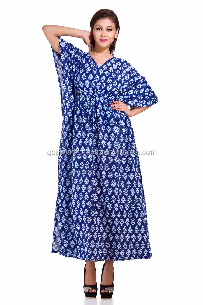 919ab5d24a3 Kaftan Dress Long Kimono Sleeve Maxi Dress Beach Wear Indian Handmade Indigo  Blue Caftan