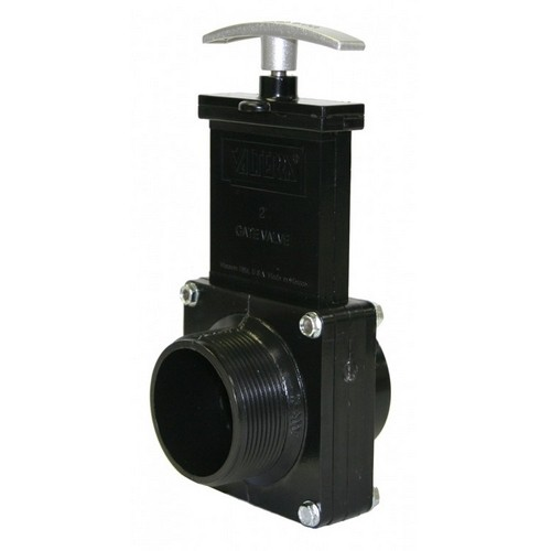 "Valterra 7206M, 2"" ABS Black MPT x Spigot Ends Gate Valve with Plastic Paddle & Metal Handle"
