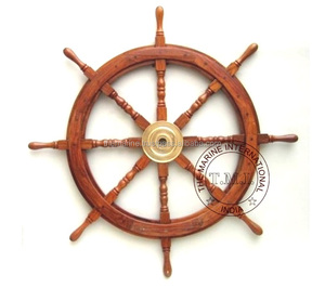 "Nautical Wooden Decorative Ship Wheel 36"" ~ Collectible Wood Steering Wheel for Decoration"