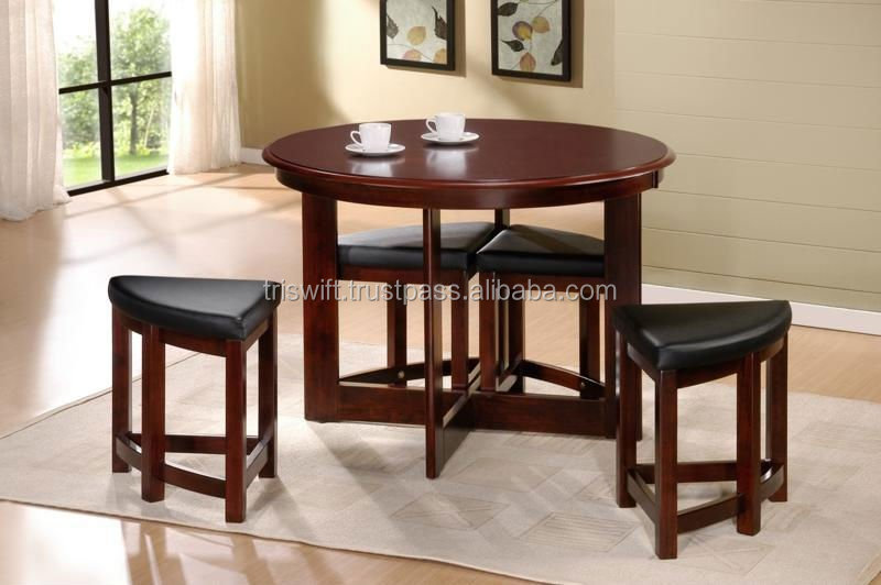 Space-saving Dining Table And Chair Set,Small Sitting Stool,Wooden  Chair,Wooden Dining Table,Malaysian Furniture - Buy Round Dining Table  Set,Malaysia ...