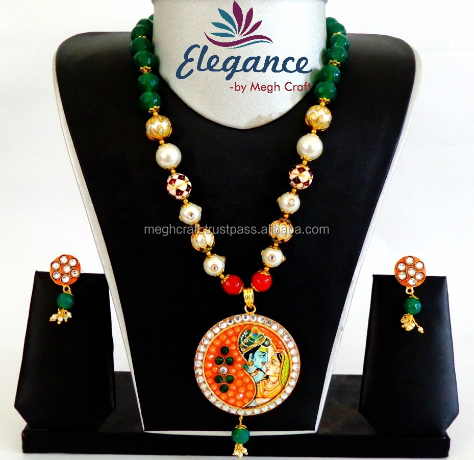 Online Lot Indian Ethnic Tanjore Jewellery-Vintage Style Tanjore Pendant Set-Ethnic Pearl beaded Tanjore Jewelry Wholesale