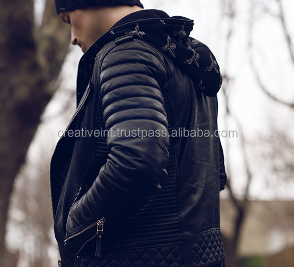 Men Real Sheep black Leather Jacket/wholesale genuine leather jacket
