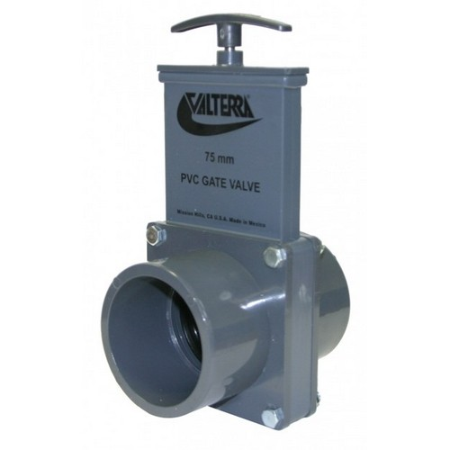 Valterra 8251, 75mm/90mm PVC Gray Slip x Spigot Ends Gate Valve with Plastic Paddle & Handle