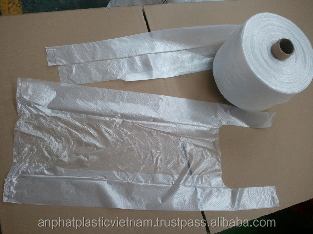 PE food packing film/LDPE/HDPE t-shirt bags on roll,ldpe hdpe poly bag on roll for supermarket shopping