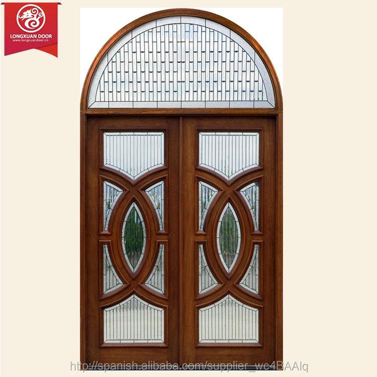 cristal de madera maciza puerta principal puerta de hierro forjado puerta con cristal claro