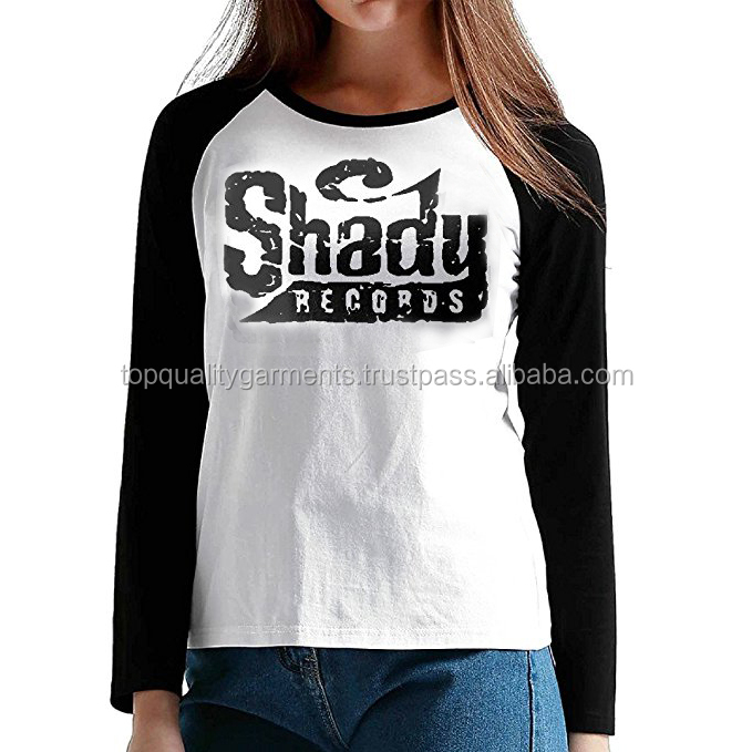 New 2017 Women Slim Shady Long Sleeve Plain Raglan T-Shirts Baseball Casual Cheap Round O Neck Top 100% Cotton OEM Customize