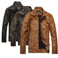 Men Fashion Good Look Genuine Leather Jackets Motorcycle Coats Jackets Washed Leather Coat