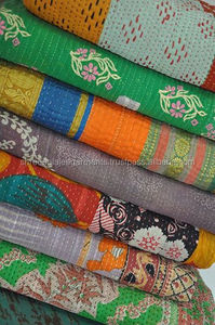 Vintage Kantha Throws Reversible Sari Quilt Bedspread wholesaler from India Recyled cotton sari Reversible Kantha Quilt
