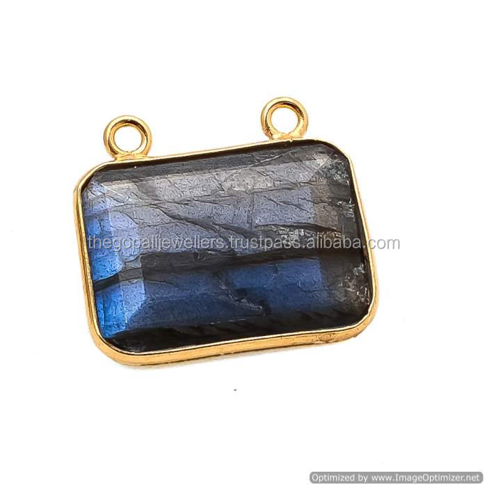 The Gopali Jewellers Latest Collection 2016 Gold Bezel Jewelry 925 Sterling Silver Jewelry Labradorite Gemstone Connector