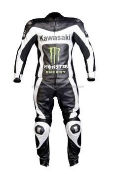 Biker En Racing Kawasaki Noir Moto Hommes Cuir Veste Costume Blanc WqXYHwnvP