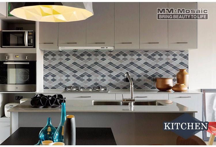 Più nuovo grigio bianco mix di vetro rombo mosaico di marmo