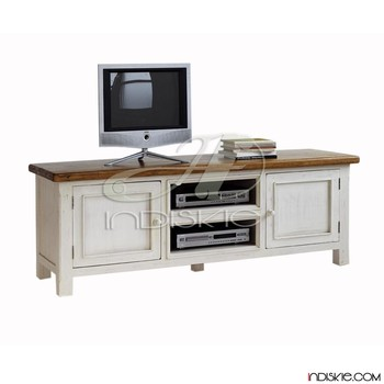 Tv Stand Acacia Solid White Brown Living Room Tv Lowboard View Tv