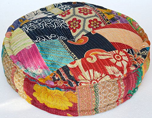 HANDMADE Stuffed Indian Vintage Kantha Patch Floor Cushion; Pouf Ottoman; Round Pouf