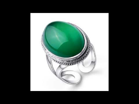 High quality silver thai silver agate 925 silver natural green chalcedony ring finger ring Women