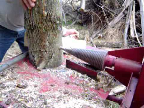 "Tractor 3 point, PTO powered screw log splitter converted from ""back on"" splitter)"