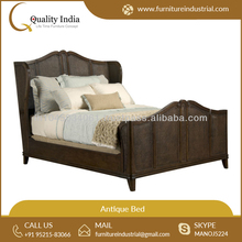 Avery Casual Cottage Caned Rich Brown Finish Antique Look Queen Bed