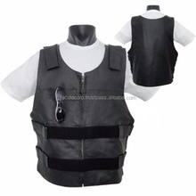 Men's Leather Bullet Proof Motorcycle Club & Biker Vest (CONCEALED CARRY )FC-7143