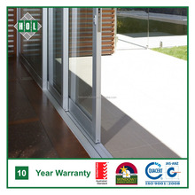 2 sash & 1 fixed sash aluminum Sliding door, anodized aluminum frame with Temper glass