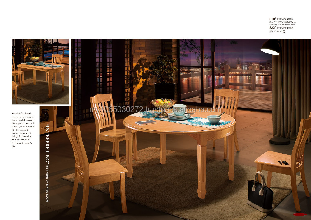 1+4 Round extendable dining table