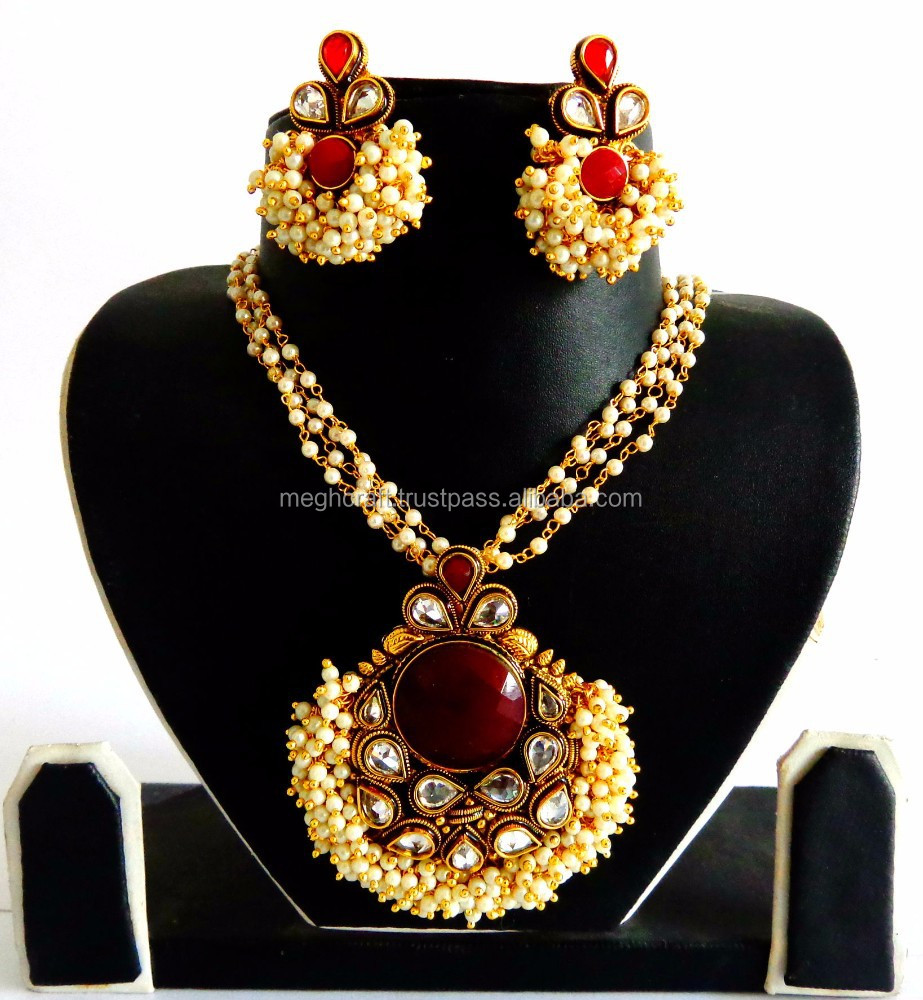 Competent Bollywood Designer Gold Plated Necklace Set Ethnic Traditional Women Jewellery Engagement & Wedding