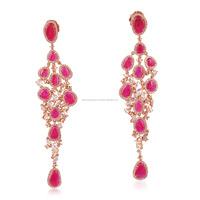 18k Rose Gold Ruby Drop Earring Women Designer Gemstone Wholesale Jewelry Supplier India