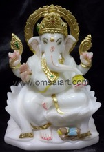 Marble Statue of ganesh & laxmi in white marble