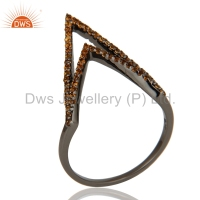 Rhodium Plated 925 SIlver Designer Midi Ring Spessartite Garnet Gemstone Handmade Rings Jewelry Supplier