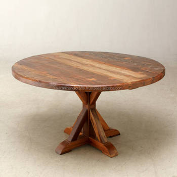 Industrial Vintage Solid Wooden Round 4 Seater Dining Table Buy