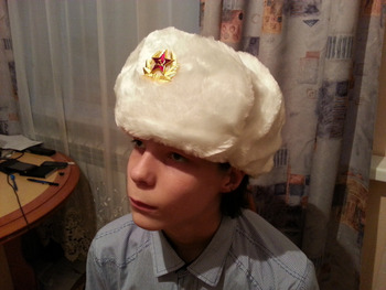 RUSSIAN SOUVENIR TRADITIONAL MILITATY WINTER HAT USHANKA FAUX FUR WHITE  COLOR 58 SIZE 4cf55cd91ed0