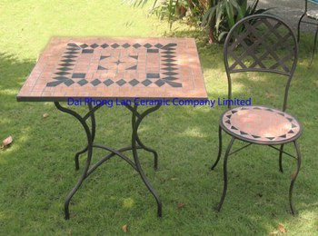 Mosaïque Carrée Table Et Chaise Bleue Ensembles De Jardin Meubles De ...