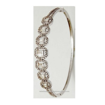 Gorgeous Baguette Diamond Bracelet Half Bangle Jewerly Buy