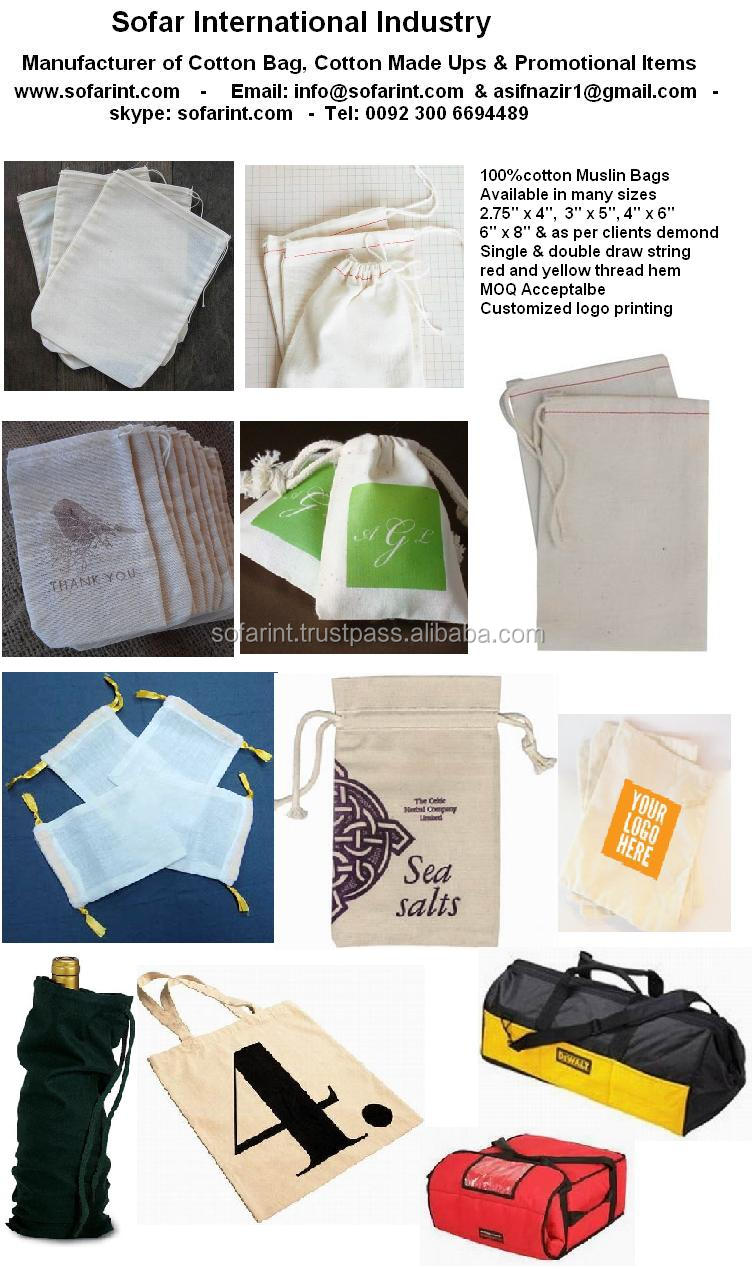 Wholesale 100% Cotton Pouch/ Muslin Bag/ Drawstring Gift Pouches