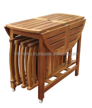 Outdoor Wood Foldable Dinning Set High Quality Furniture Made In Vietnam Garden