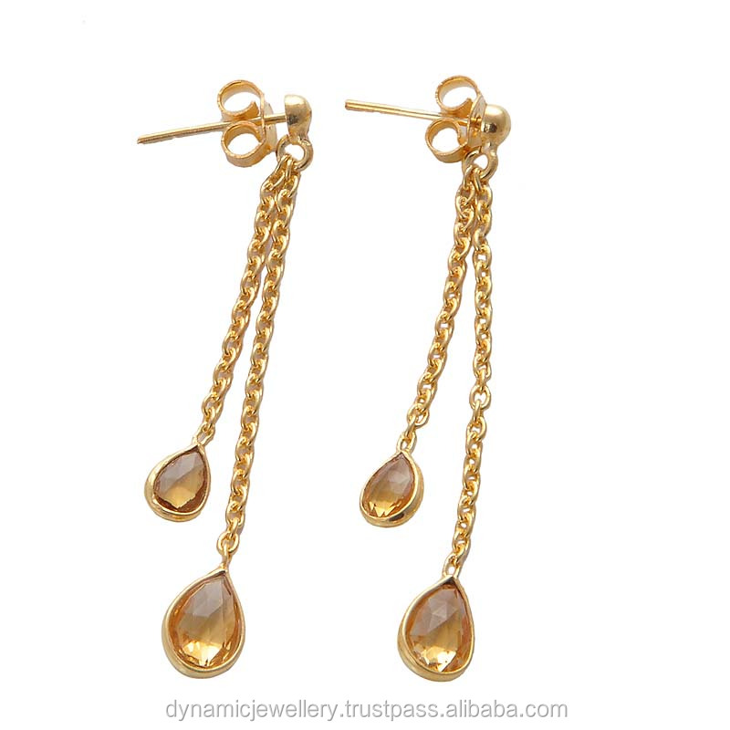2015 New Design Citrine Jewelry Earring Plated Yellow Gold ...